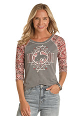 Womens Panhandle Dusty Rose and Grey Bucking Horse 3/4 Sleeve Shirt