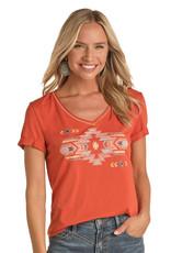 Womens Panhandle Orange Aztec Logo Short Sleeve Shirt