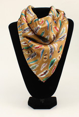 100% Silk Gold Multi Color Feather Silk Scarf 21x21