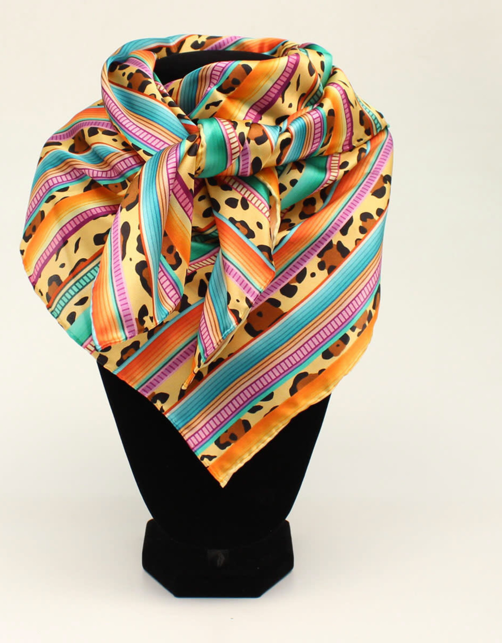 Multi Color Leopard Serape Stripe 100% Silk Wild Rag 33x33