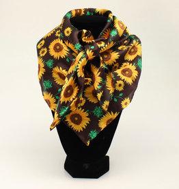 Chocolate with Yellow Sunflowers 100% Silk Wild Rag 33x33