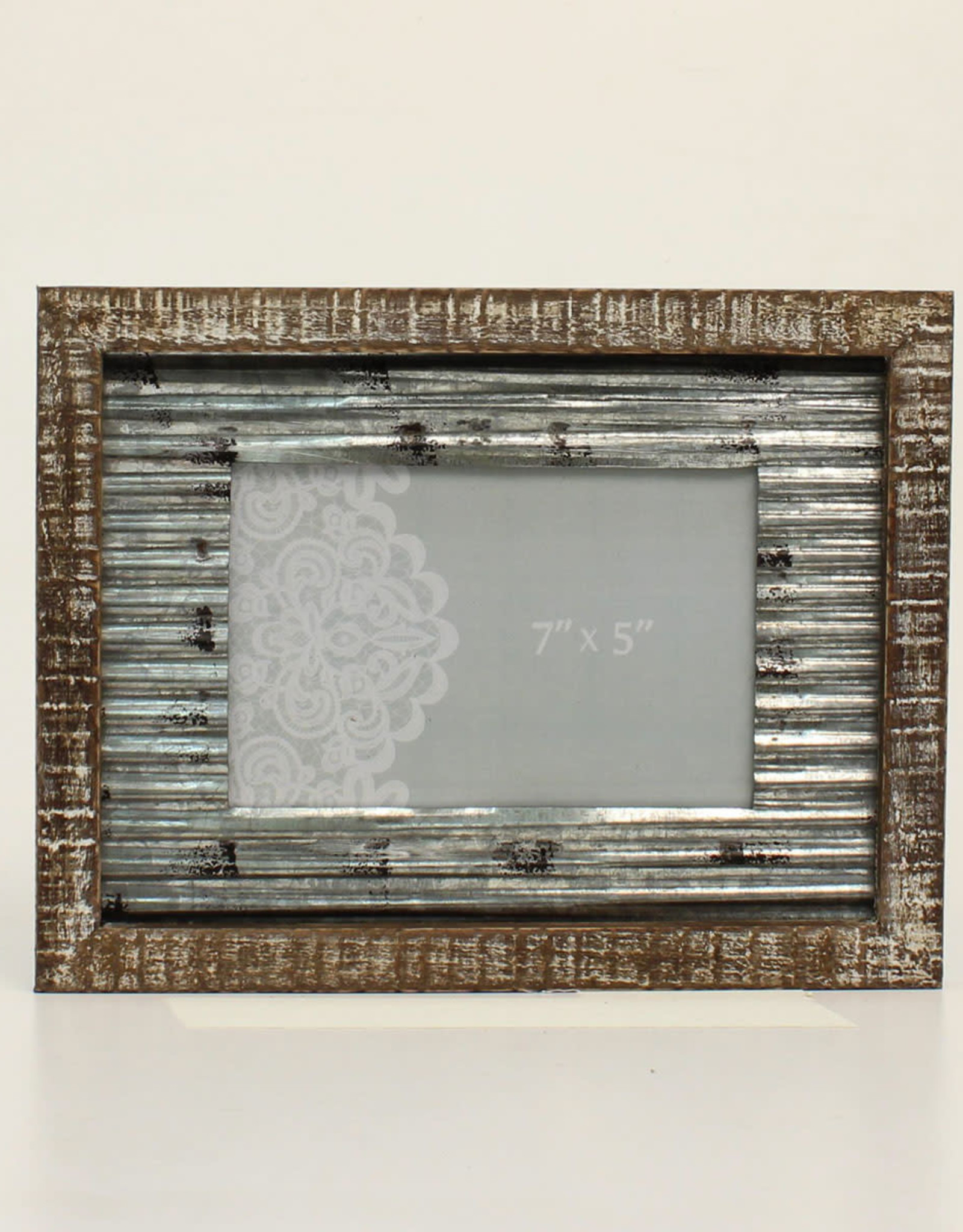 Distressed Wood and Tin 5x7 Picture Frame