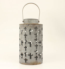 Metal Rustic Western Cross Cut Out Candle Lantern