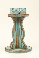 Turquoise  Rustic Wooded Western Candle Holder