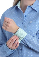 Cinch Womens Cinch Button Down Shirt Royal Blue Mini Check with Green Dots