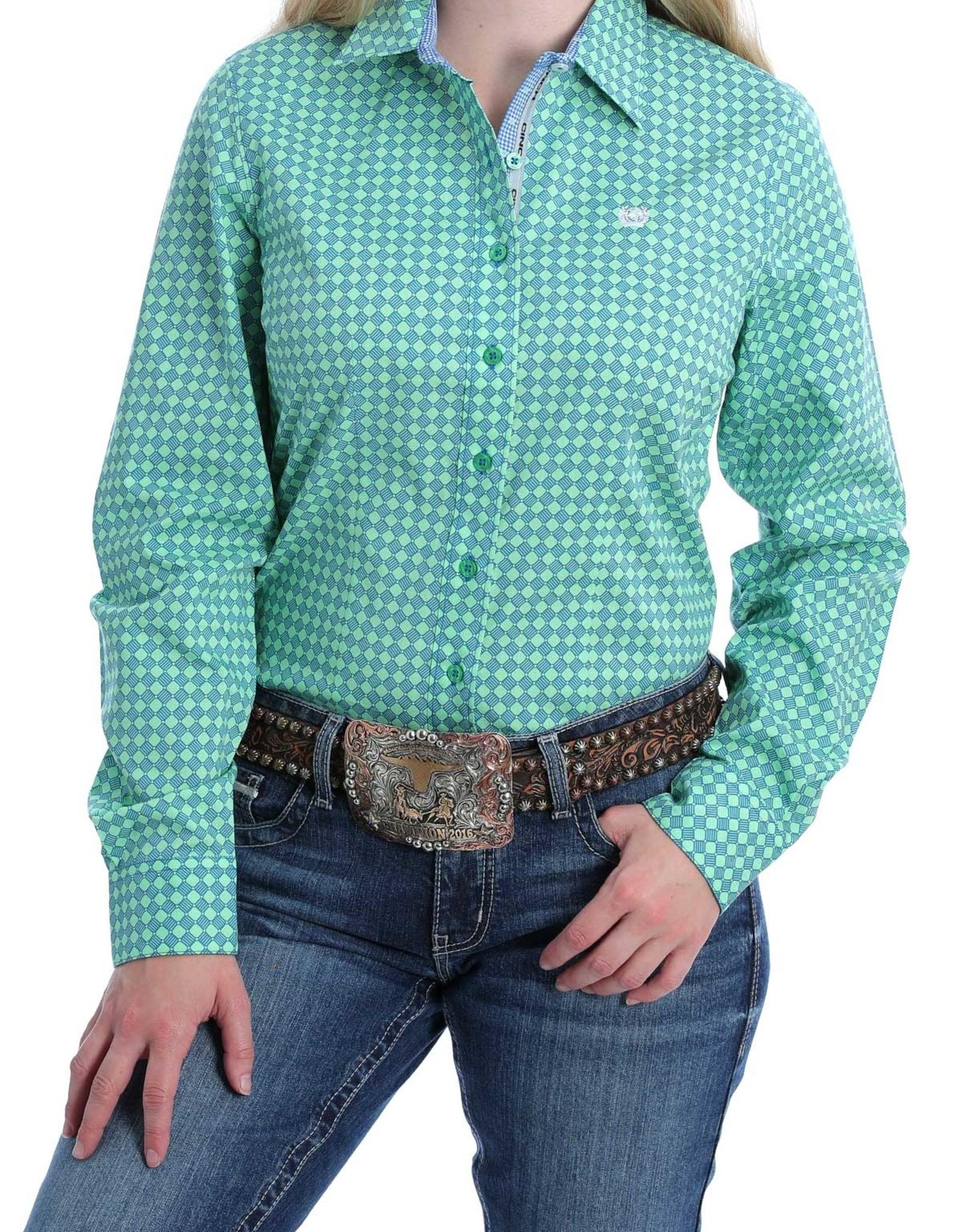 Cinch Womens Cinch Button Down Shirt Lime Green Royal Blue Pattern