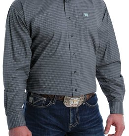 Cinch Mens Cinch Stretch Long Sleeve Button Charcoal Grey Black Teal Geo Print