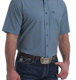 Cinch Mens Cinch Arena Flex Blue Black White Print Button Short Sleeve Shirt