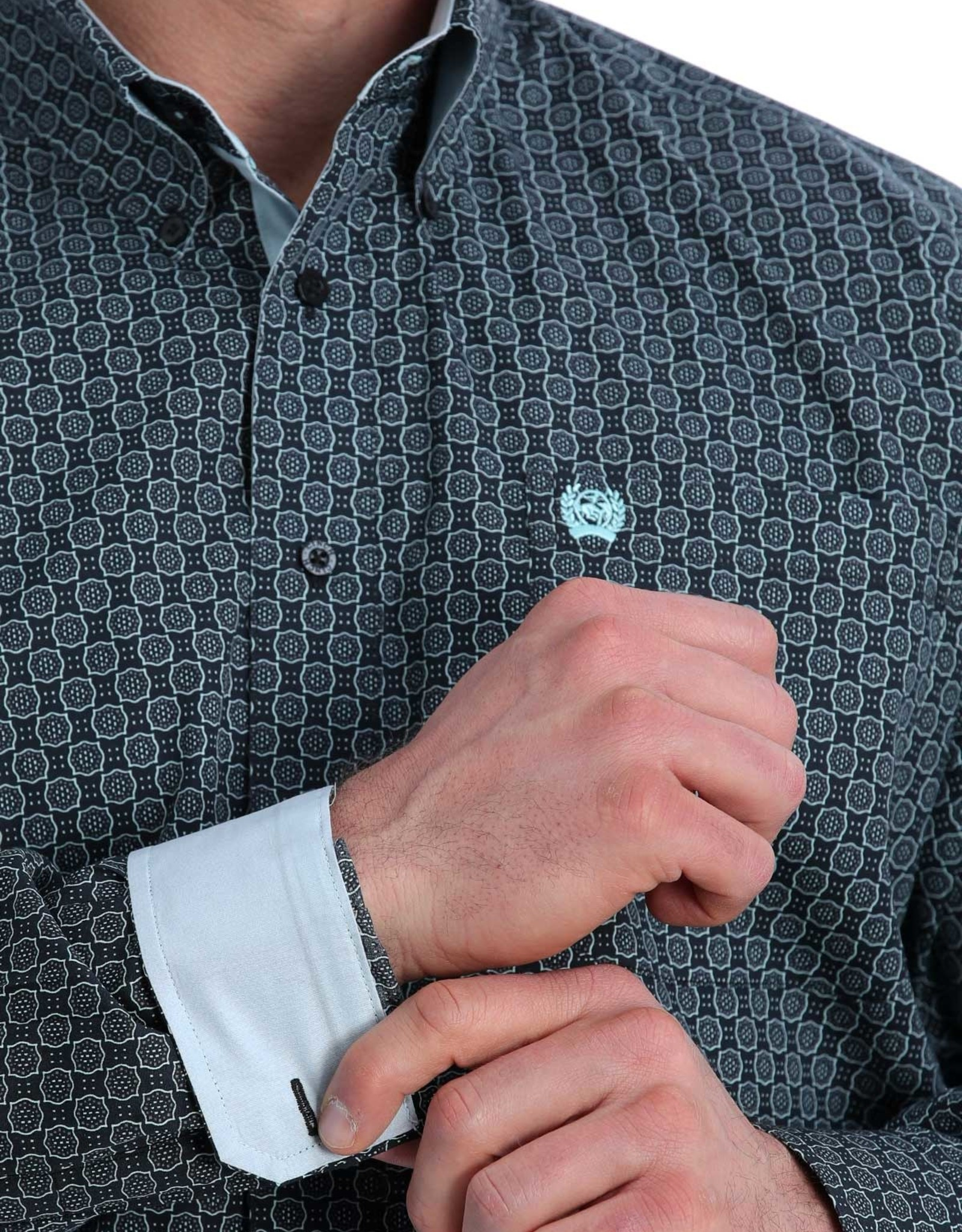 Cinch Mens Cinch Long Sleeve Button Black Teal Print