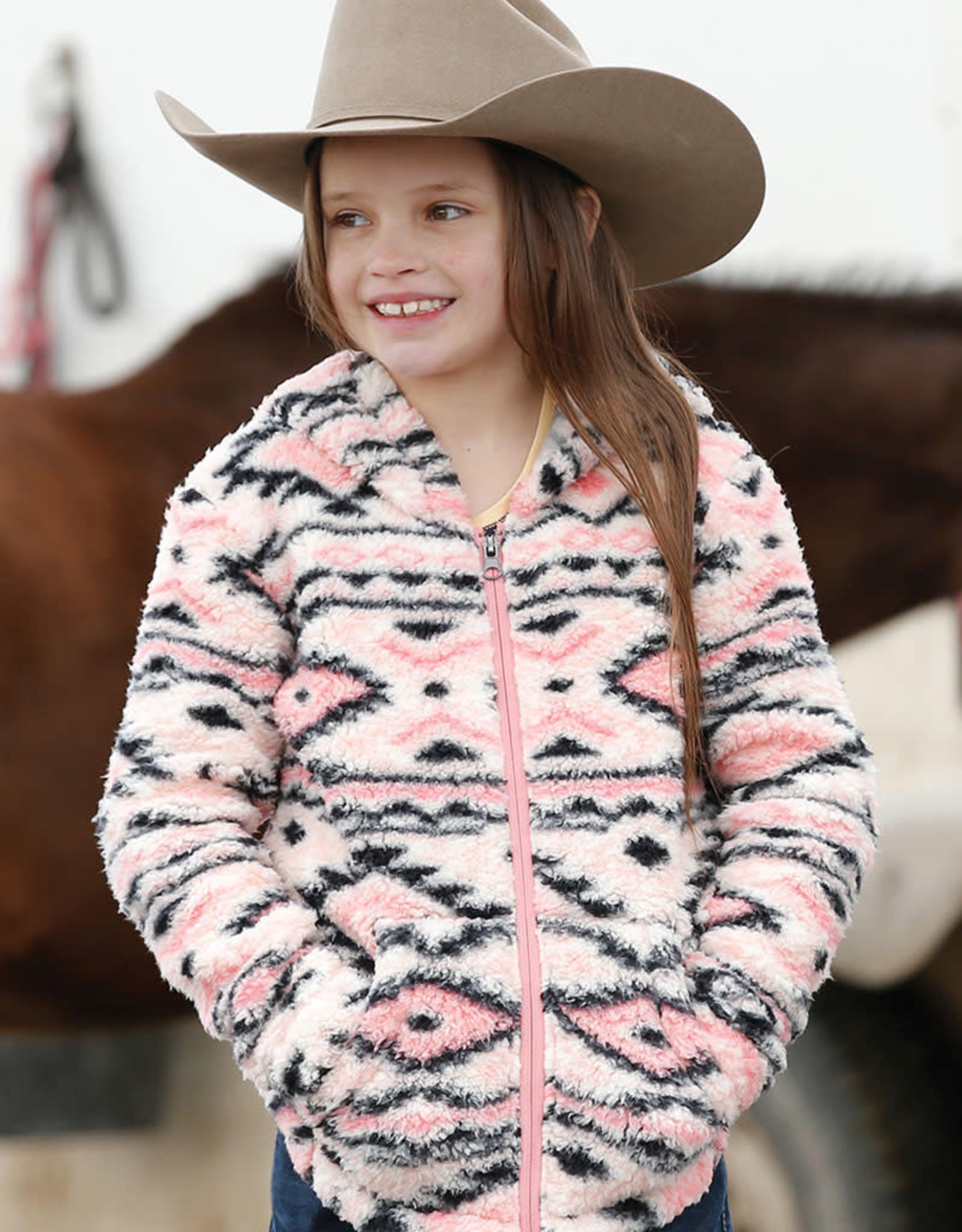 Girls Cruel Girl Warm Pink Aztec Fluffy Fleece Full Zip Hooded Jacket