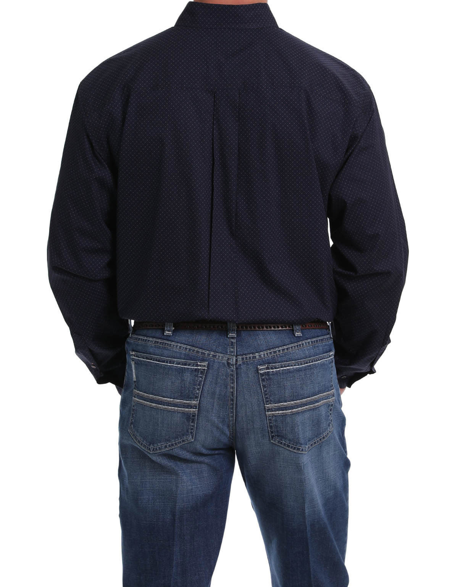 Cinch MENS CINCH NAVY, BLACK, ORANGE PRINT BUTTON-DOWN SHIRT