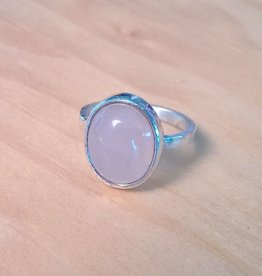 Devil May Wear Spring Blossom Ring. Rose Quartz in Solid Silver setting and band. Size 4