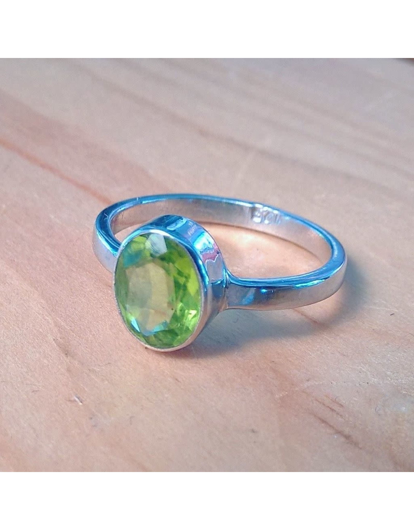 Chris Gillrie Wander Through the Woods Ring. Solid Silver with Peridot. Size 6