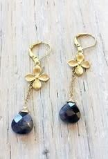"Devil May Wear Dogwood Earrings. Amethyst Drop. Gold plated chain. Gold fill closing hook. 1.5"""