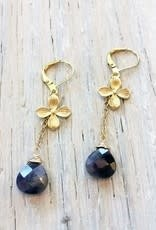 Devil May Wear Dogwood Earrings. Amethyst Drop. Gold plated chain. Gold fill closing hook. 1.5""