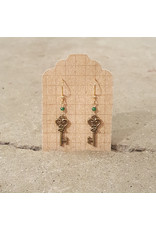 Devil May Wear Fairy Keys Earrings. Brass key. Chinese crystals. Gold Plated hook. 1.5""