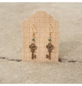 "Devil May Wear Fairy Keys Earrings. Brass key. Chinese crystals. Gold Plated hook. 1.5"""