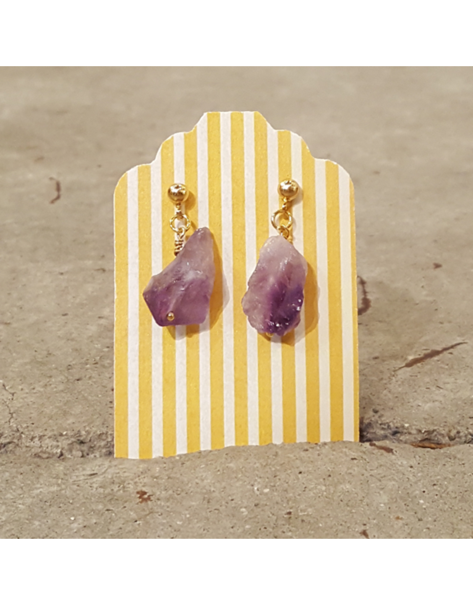 Devil May Wear Raw Royal Earring. Amethyst, gold plated, silver posts. 1""