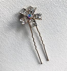 Young & Heart Rhinestone Bun Flowers. Silver
