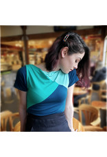 Devil May Wear Tri Colour Boatneck T-shirt. Bamboo Blend. Seafoam/Sea Green/ Dark Teal