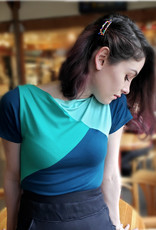Devil May Wear Tri Colour Boatneck T-shirt. Bamboo Blend. Seafoam/Sea Green/ Dark Teal