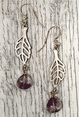 Devil May Wear Spriggan Leaf Earrings. Plated Silver Leaf. Amethyst Stone drop. Silver Fill Hooks. 2""