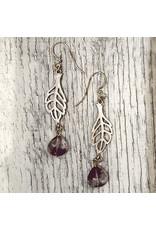 "Devil May Wear Spriggan Leaf Earrings. Plated Silver Leaf. Amethyst Stone drop. Silver Fill Hooks. 2"""