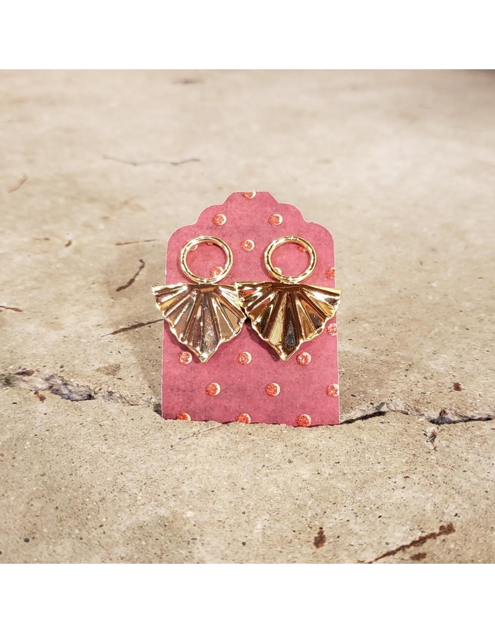 Devil May Wear Triangular Fan Earrings. Gold Plated. Silver Posts.