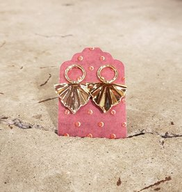 Devil May Wear Triangular Fan Earrings. Gold Plated. Silver Posts.
