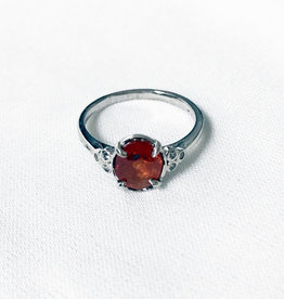 Chris Gillrie Fixed Start  Silver Ring, Spessartite Garnet, Cubic Zirconia Size 6