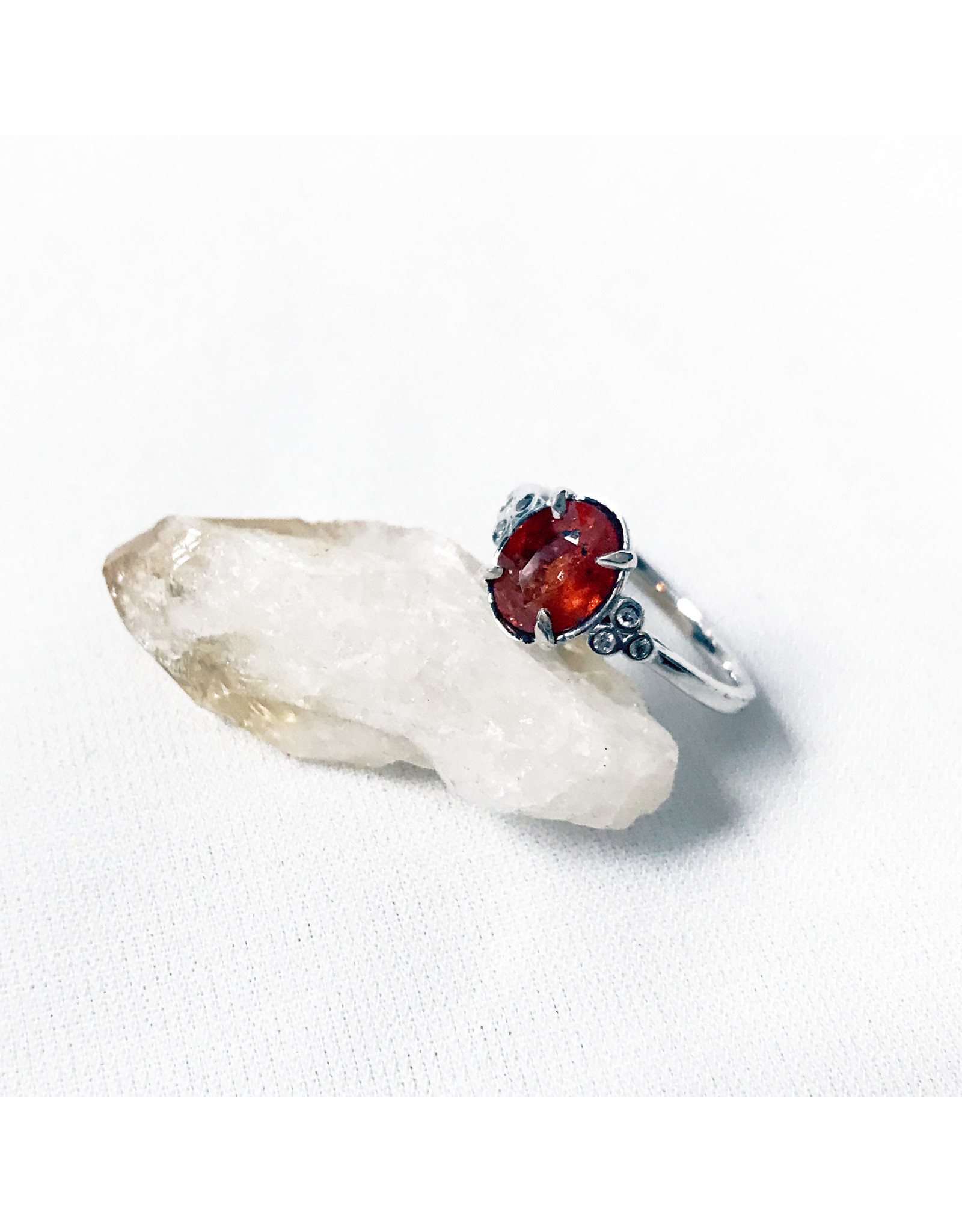 Chris Gillrie Fixed Start  Silver Ring, Spessartite Garnet, Cubic Zirconia Size 6