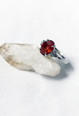 Chris Gillrie Fixed Start Silver Ring, Spessartite Garnet, Cubic Zirconia Size 7