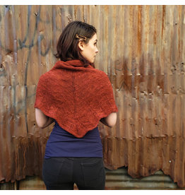 Devil May Wear Navaratna Scarf. Hand Spun Wool/Linen Blend Yarn. Hand Knit. Hand Wash, dry flat. Rust