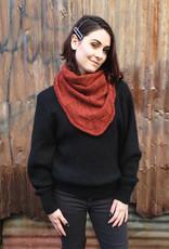 Devil May Wear Navaratna Scarf. Hand Spun Wool/Linen Blend Yarn. Hand Knit. Hand Wash, dry flat. Rust