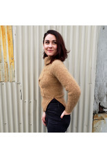 Devil May Wear Clarence Sweater. Hand Knit. 100% Mohair. Cropped. Zipper detail. Camel. XS