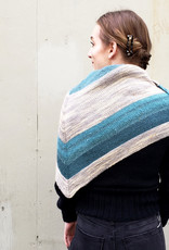 Devil May Wear Nicholas Scarf. Hand Knit. Wool/Alpaca. Aqua/White/Grey