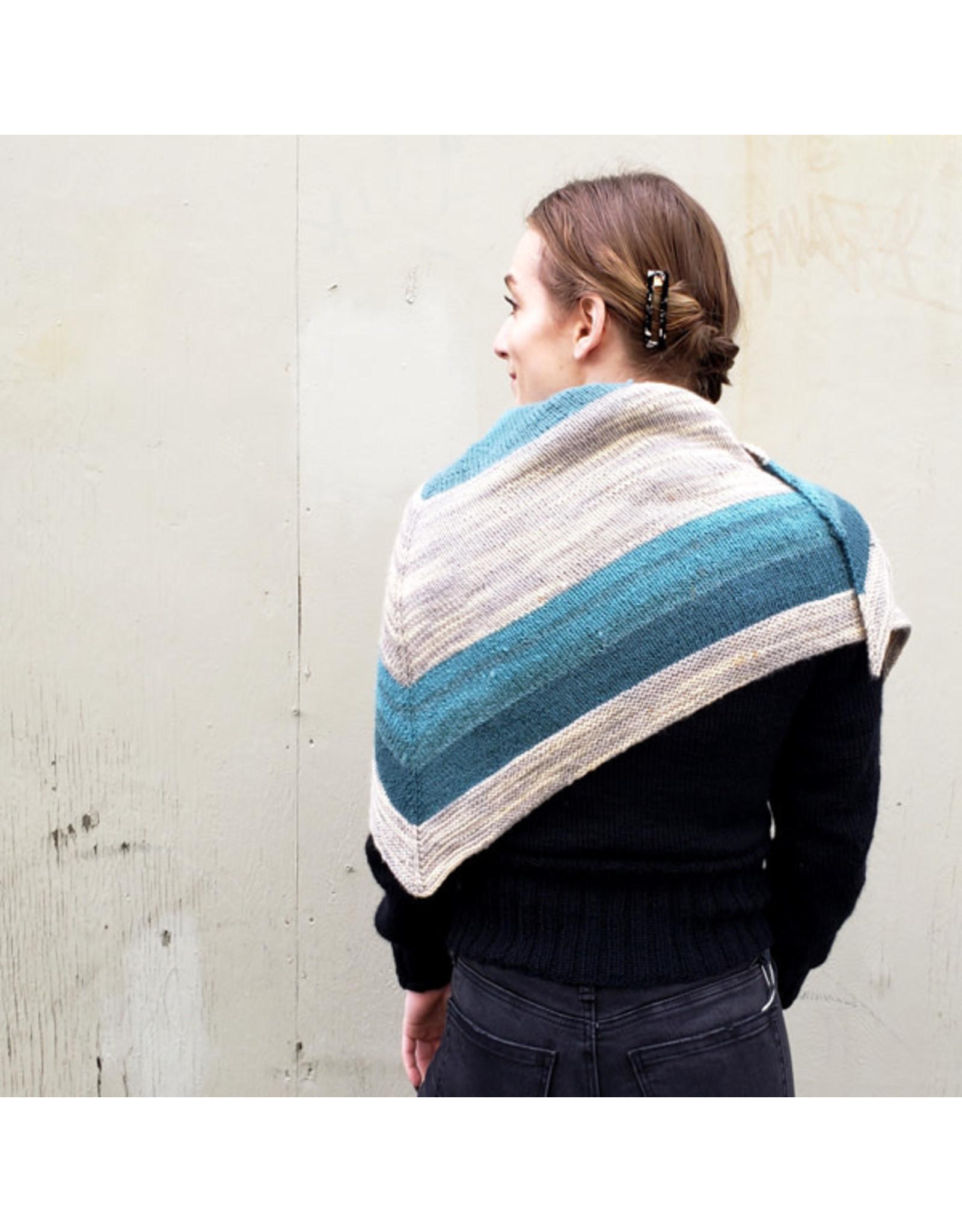 Devil May Wear Nicholas Scarf. Hand Knit. Wool/Alpaca. Aqua/White/Grey