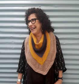 Devil May Wear Nicholas Scarf. Hand knit. Wool/Alpaca. Gold/Navy/Taupe
