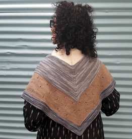 Devil May Wear Elizabeth Triangle Wrap. Hand Knit. Hand Dyed Yarn.  Wool/Alpaca. Blue/Mocha/Cream