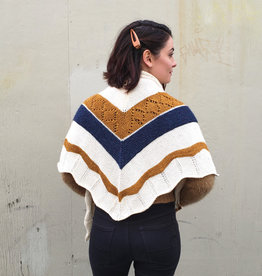 Devil May Wear Siobhen Scarf. Hand Knit. Triangle Wrap Scarf. Mostly Silk with Marino and Alpaca. Hand Wash, Dry Flat. Cream, Gold, Navy.
