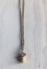 Devil May Wear Pina Colada Necklace. Miniature Pinapple pendant with Swarovski Crystal. Gold Plated. 22""