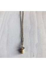 """Devil May Wear Pina Colada Necklace. Miniature Pinapple pendant with Swarovski Crystal. Gold Plated. 22"""""""