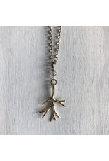 """Devil May Wear Light Through the Branches Necklace. Gold Plated. Swarovski Crystal. 19"""""""
