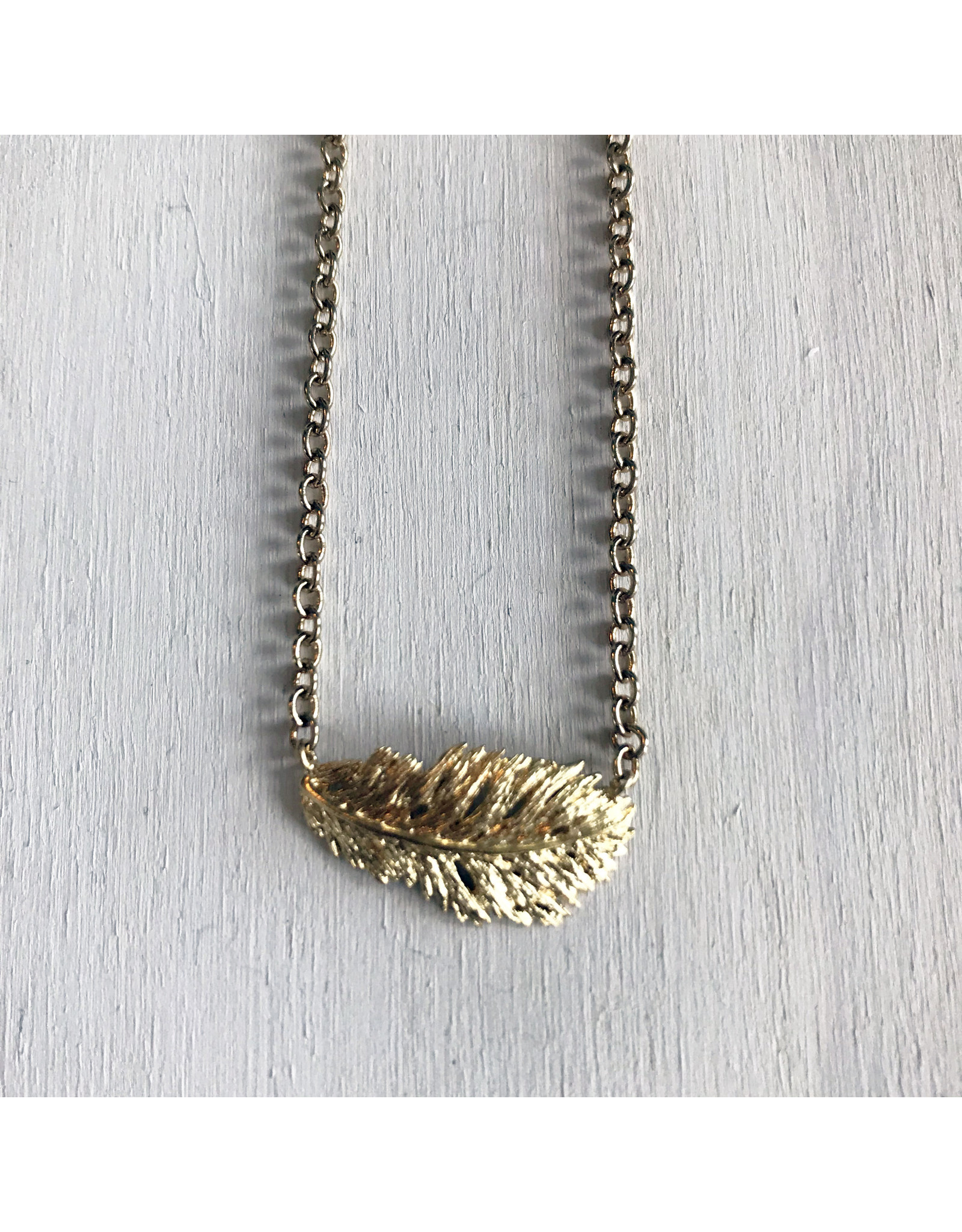 Devil May Wear Owlet Dainty Feather Necklace. Gold Plated.