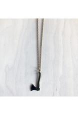"""Chris Gillrie Little Hand Cut Pendant. Brass Axe. Gold Plated Chain. 22"""""""