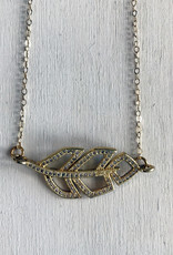 """Devil May Wear Odette Feather Necklace. 88 miniature Cubic Zirconia. Gold fill chain and clasp. 19"""""""