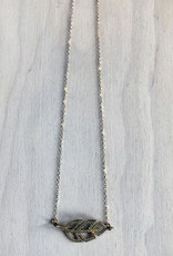 Devil May Wear Odette Feather Necklace. 88 miniature Cubic Zirconia. Gold fill chain and clasp. 19""