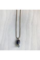 "Devil May Wear Desert Rose Necklace. Rose Quartz. Smoky Swarovski Crystal. Gold Plated Chain. 20"""