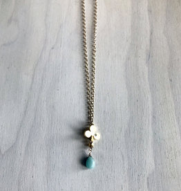 Devil May Wear Alice's Aces Necklace. Gold plated Club Charm with cubic Zirconia. Amazonite Droplet. Gold plated chain. 23""