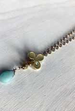 """Devil May Wear Alice's Aces Necklace. Gold plated Club Charm with cubic Zirconia. Amazonite Droplet. Gold plated chain. 23"""""""